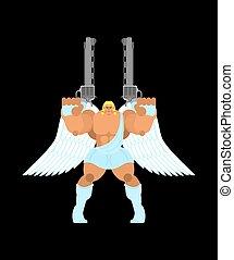 Guardian angel and gun. Warrior archangel. Battle saint patron