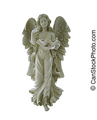 Image of bisque guardian angel statue isolated on white.