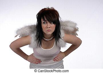 pretty brunette dressed as angel bent at waist