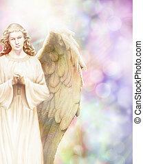 Guardian Angel - Traditional angel illustration on pastel...