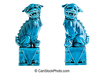 Chinese guardian lions or Imperial guardian lion, traditionally known in Chinese simply as Shi isolated over white