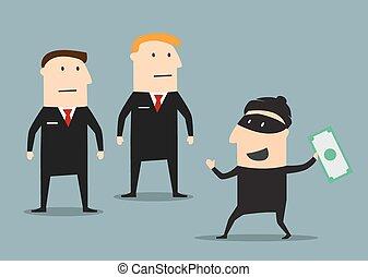 guardie, soldi, preso, sicurezza, ladro