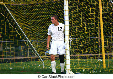 Guarding the Goal - Soccer Player guards the edge of the...