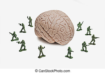 Guarding your Ideas - Toy soldiers surrounding a human brain...