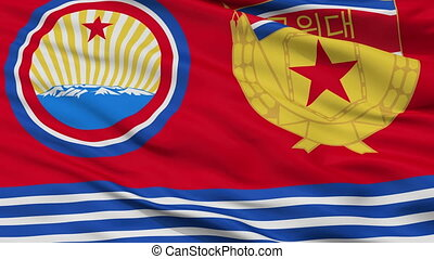 Guards Ensign Of North Korea Flag Closeup Seamless Loop -...