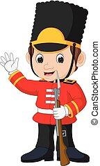 guardsman, dessin animé, britannique