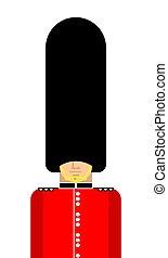 guardsman, futro, isolated., angielski, brytyjski, uchronić,...