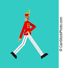 guardsman, garde, isolated., homme, enrôlé, marching., soldat