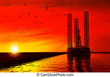 guarneça, óleo, pôr do sol