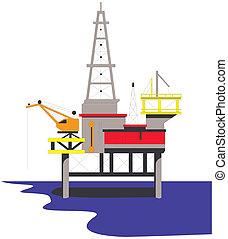 guarneça, óleo perfura, plataforma