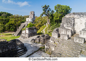 guatema, プラザ, サイト, ii, 考古学的, gran, tikal, 寺院