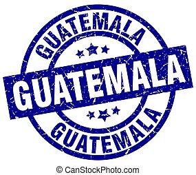 guatemala, blu, rotondo, grunge, francobollo