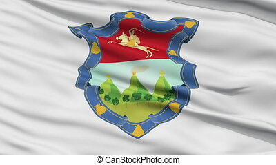 Guatemala Capital City Flag of Guatemala, Close Up Realistic 3D Animation, Seamless Loop - 10 Seconds Long