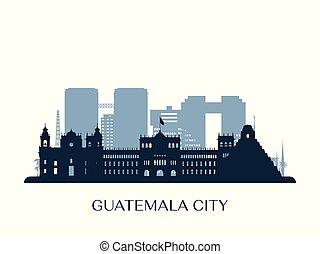 Guatemala city skyline, monochrome silhouette.