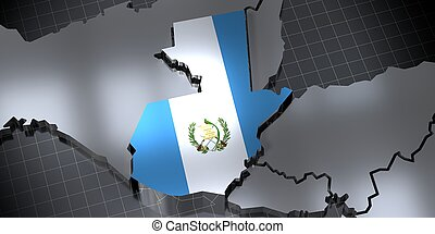 Guatemala - country borders and flag - 3D illustration