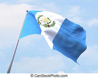 Guatemala flag flying on clear sky.