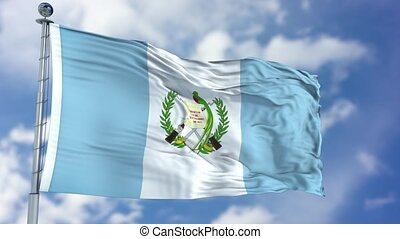 Guatemala Flag in a Blue Sky. Use this clip loud and proud...