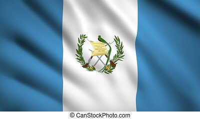 Guatemala flag Motion video waving in wind. Flag Closeup 1080p HD footage
