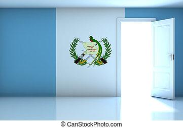Guatemala flag on empty room