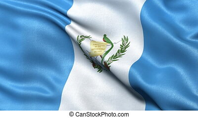 Realistic flag of Guatemala waving in the wind. Seamless loop with highly detailed fabric texture.