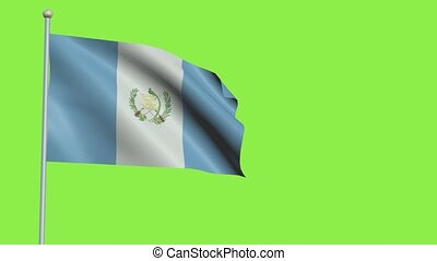 Guatemala Flag in 3D render with green screen background in Slow Motion