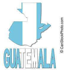 Guatemala map flag and text