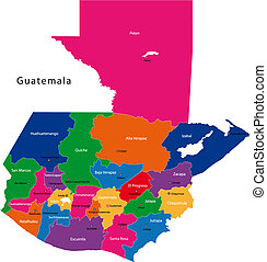 Guatemala map - Map of the Republic of Guatemala with the...