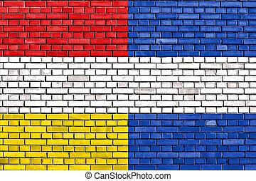guatemala, muur, oud, vlag, geverfde, baksteen