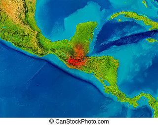 Guatemala on physical map