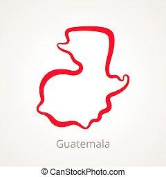 Guatemala - Outline Map - Outline map of Guatemala marked...