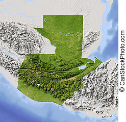 Guatemala, shaded relief map - Guatemala. Shaded relief map....