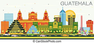 Guatemala Skyline with Color Buildings and Blue Sky.