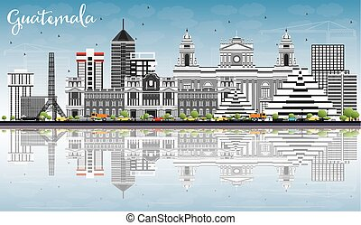 Guatemala Skyline with Gray Buildings, Blue Sky and Reflections.