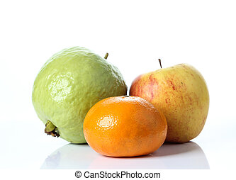 Guava and apple on white background