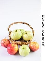 Guava apple in the basket on white background