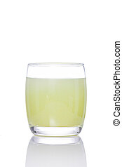 Guava drink in glass isolated on white background