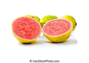 Guava Fruit on white background .