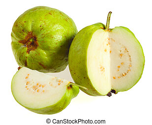 Guava fruits over white - Two apple guava fruits, one of...