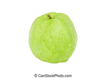 Guava green fruit color from tropical zone isolated, Clipping path