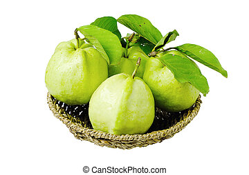 Guava in basket on white background