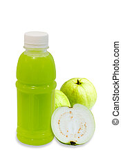 guava juice in plastic bottle with fruit isolated on white...