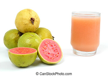 Guava - Juice of Guava Fruit over white background
