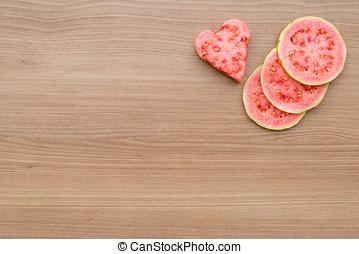 guava, pokrzepiający, czerwony owoc, serce