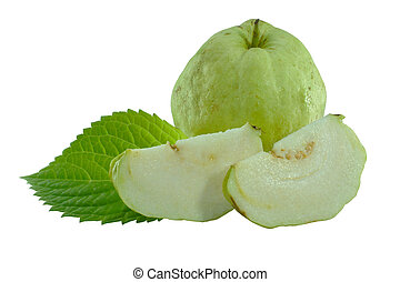 Guavas on white background (No seeds species.)