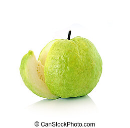 Guavas on white background