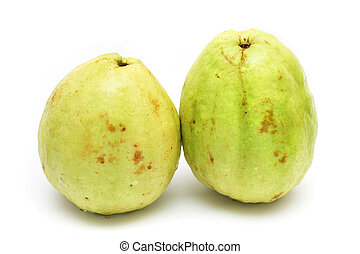 Guavas - Two yellow green guavas isolated on white...