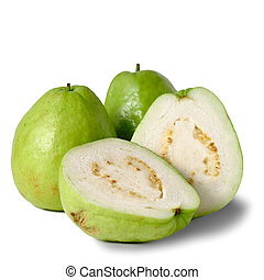Guavas, group of fruit isolated on white background.