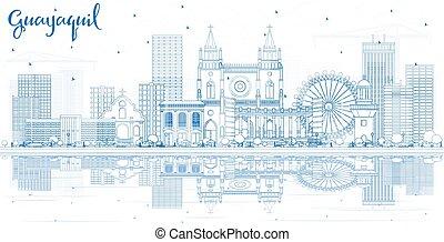 guayaquil, reflections., ciudad de edificios, contorno, ...