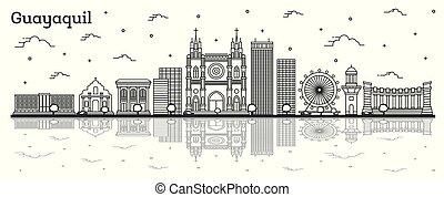 guayaquil, reflexiones, aislado, edificios, contorno, ciudad...