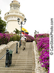 guayaquils, 灯塔, 公园, 在中, 厄瓜多尔